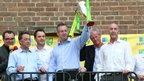 Paul Lambert (centre) celebrates during Norwich City's Premier League promotion party