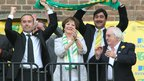 David McNally (left, Delia Smith (centre) and Michael Wynn Jones (bottom right) celebrate during Norwich City's promotion party to the Premier League