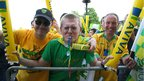 Norwich City fans celebrate outside City Hall as the players attend a civic reception for their promotion to the Premier League