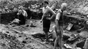 Glastonbury Abbey excavation in 1954