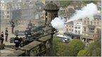 Gunners fire a 21-gun salute to mark the Queen's 85th birthday at Edinburgh Castle in April 2011