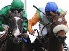 Joviality (left) just gets the better of Barefoot Lady at York