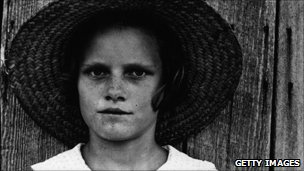 Lucille Burroughs, daughter of a cotton sharecropper in Hale County, Alabama, photographed by Walker Evans