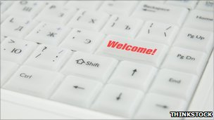 Computer keyboard with welcome button