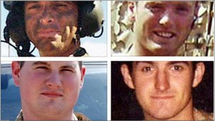 Cpl Stephen Allbutt, Pte Phillip Hewett, Pte Lee Ellis and Lance Cpl Kirk Redpath (clockwise from top left)