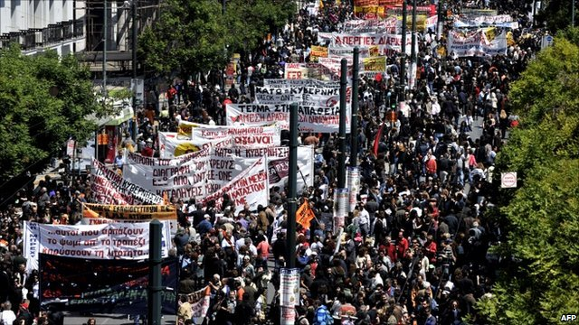 Demonstration during a 24-hour strike in Athens