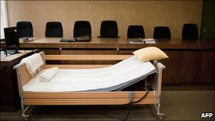 The bed of defendant John Demjanjuk is pictured ahead of his trial on 4 May, 2011 in the courtroom in Munich, Germany