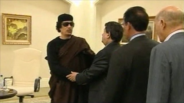 Libyan state television pictures of Colonel Gaddafi