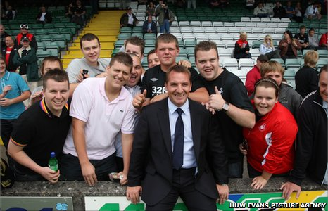 Brendan Rodgers with Swansea fans