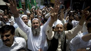 Pakistan Muslim League-N supporters demonstrate in Abbottabad - 12 May