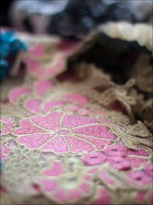 Pink embroidered pattern