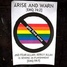 'Gay-free zone' stickers