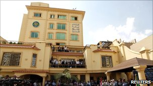 The new headquarters of the Muslim Brotherhood Party in Cairo, 30 April