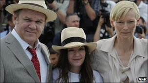 We Need to Talk about Kevin director Lynne Ramsay (centre) with actors John C Reilly and Tilda Swinton