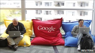 Men using laptops on Google bean bags