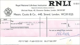 RNLI cheque for £1