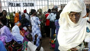 Gambian voters at a polling booth