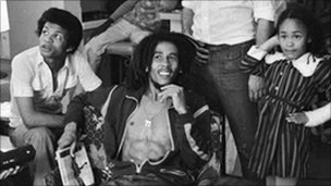 Bob Marley at home with friends