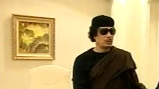 Col Muammar Gaddafi on Libyan state TV