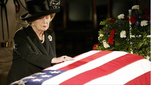 Margaret Thatcher at Ronald Reagan's funeral