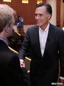 Mitt Romney shaking hands at the University of Michigan