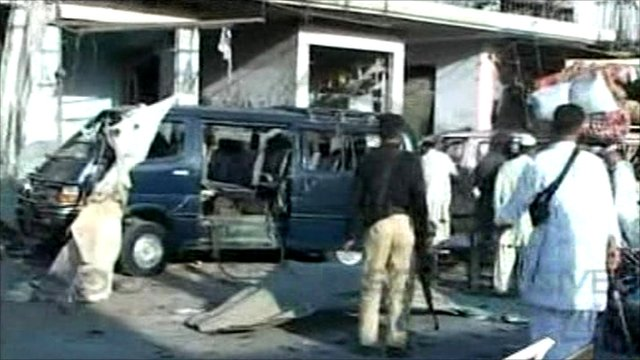 Pakistan paramilitary Shabqadar base bombings 'kill 73'   Source:  Save Cancel