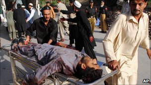 Man wounded in bomb attacks in Shabqadar, Charsadda district, north-west Pakistan, is rushed to hospital - 13 May 2011
