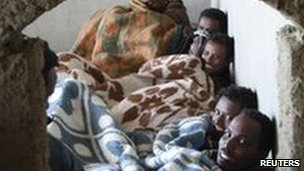 Eritrean migrants in Sinai safe house
