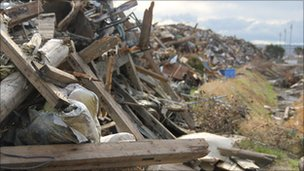 Piles of debris in Ishinomaki