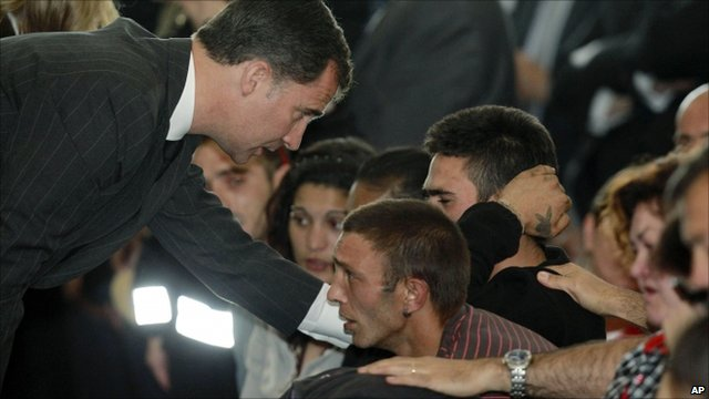 Crown Prince Felipe consoles mourning relatives of the Lorca quake victims