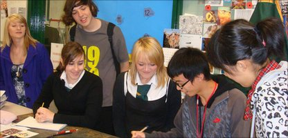 Chinese students visit their partner school in the UK