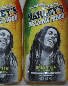 Bottles of the Marley green tea drink