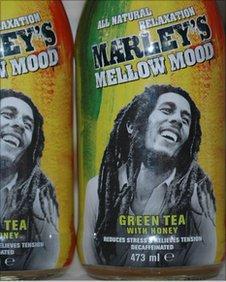 Bottles of the Marley green tea drink