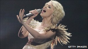 Mika Newton of Ukraine performs in the second semi-finals of the Eurovision Song Contest 2011