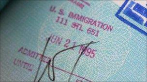 US visa stamp in passport