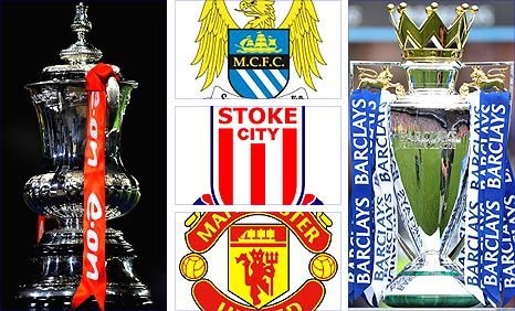 The FA Cup and Premier League trophies