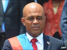 Haitian President Michel Martelly after being sworn in on 14 May 2011