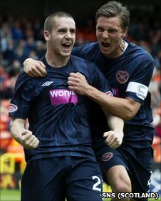 Hearts players Gary Glen and Eggert Jonsson