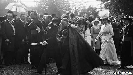 King George V and Queen Mary in Maynooth, Co Kildare during a visit to Ireland in July 1911