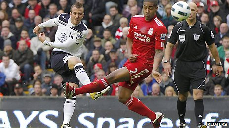 Spurs playmaker Rafael van der Vaart (left) scores with a 20-yard shot to put his side ahead at Liverpool