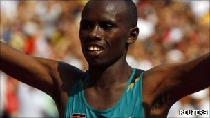 Samuel Wanjiru after winning gold in Beijing (August 2008)