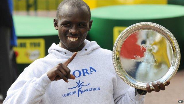 Samuel Wanjiru after winning the 2009 London Marathon (26 April 2009)