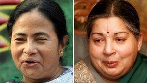 Mamata Banerjee (l) and Jayalalithaa