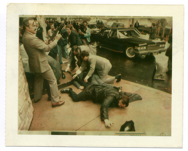 Wire photograph of the assassination attempt on President Reagan, 1981