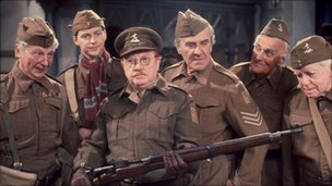 Clive Dunn (L) with the Dad's Army cast
