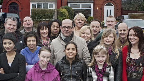 Nick Robinson and residents of the street