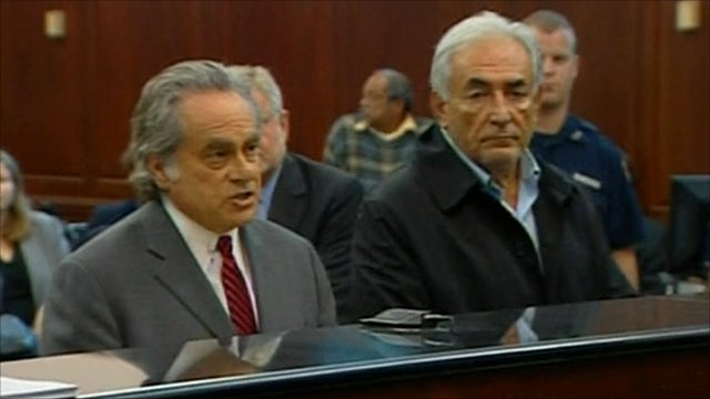 Mr Strauss-Kahn and his lawyer Benjamin Brafman