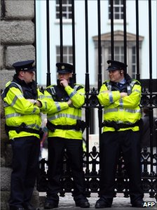 Police outside Dublin Castle on 16 May
