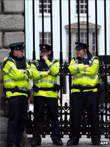 Police outside Dublin Castle on 16 May