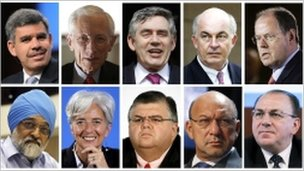 (Top left to Right)- Mohamed El-Erian, Stanley Fischer of Israel, Gordon Brown of Britain, Kemal Dervis of Turkey, Peer Steinbrueck of Germany, (bottom L-R) Montek Singh Ahluwalia of India, Christine Lagarde of France, Agustin Carstens of Mexico, Trevor Manuel of South Africa and Axel Weber of Germany
